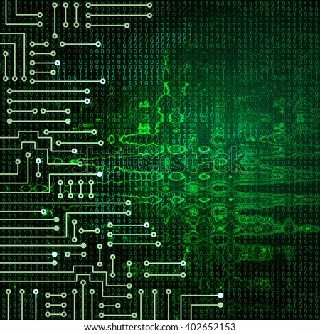 Drawing modern electronic circuit on green ruffle background - stock photo