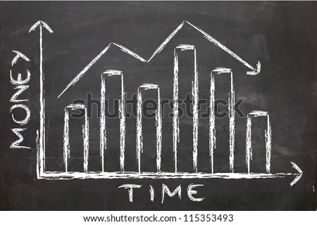 Drawing of a bar chart on a chalk board - stock photo