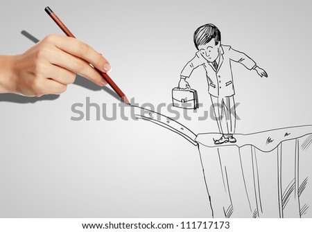Drawing of a businessman in a risky situation - stock photo