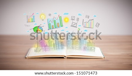 drawing of a colorful business scheme on an opened book - stock photo