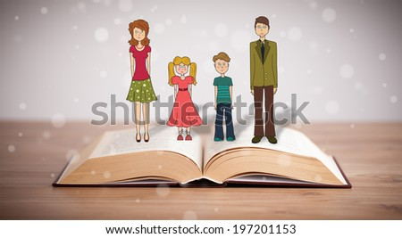 Drawing of a happy family on opened book. The symbol of unity and happiness - stock photo