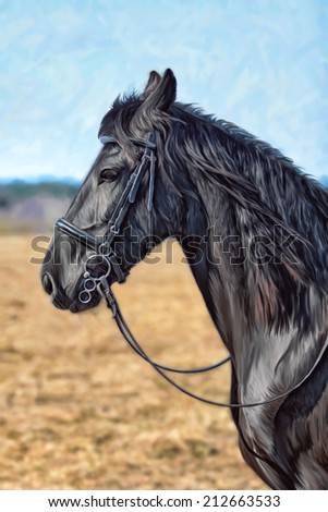 Drawing of a horse - stock photo