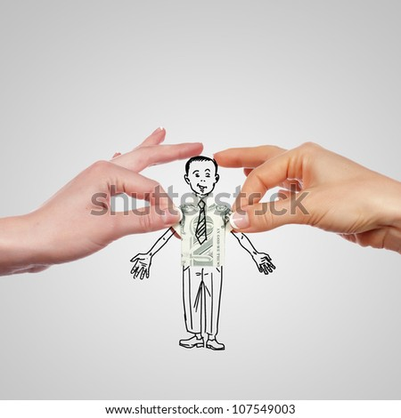 Drawing of a man held by his shouldres with two hands - stock photo