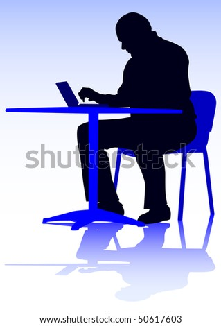 drawing of a man with a personal computer. Silhouette on people - stock photo