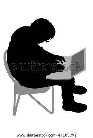 drawing of a man with a personal computer. Silhouette on white background - stock photo