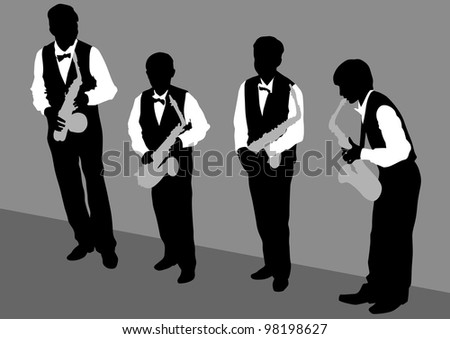 drawing of a man with saxophone on stage - stock photo