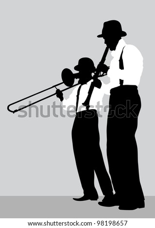 drawing of a mans with trombone and clarinet on stage - stock photo