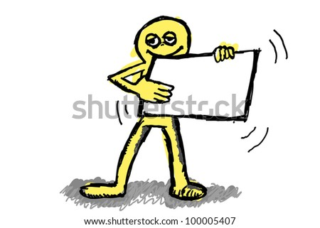drawing of a person with sign - stock photo
