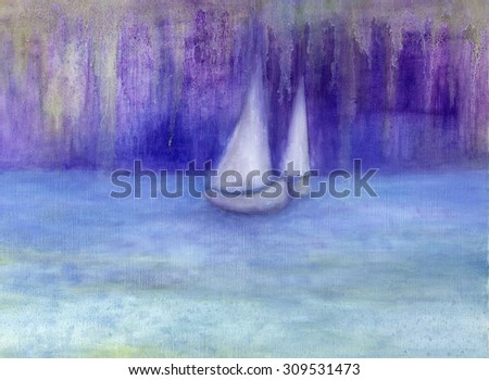 Drawing of a small yacht on beach in stormy seas to unknown - stock photo