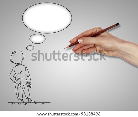 Drawing of a standing man in thoughts - stock photo