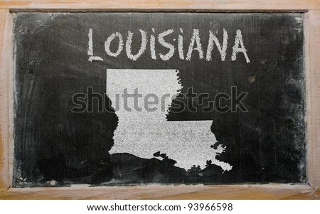 drawing of american state of louisiana on chalkboard, drawn by chalk - stock photo