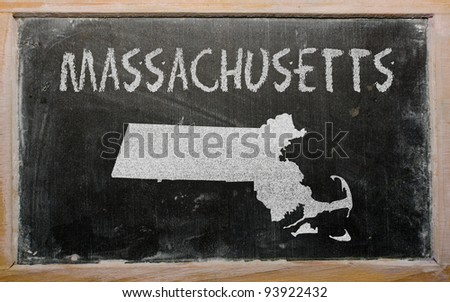 drawing of american state of massachusetts on chalkboard, drawn by chalk - stock photo