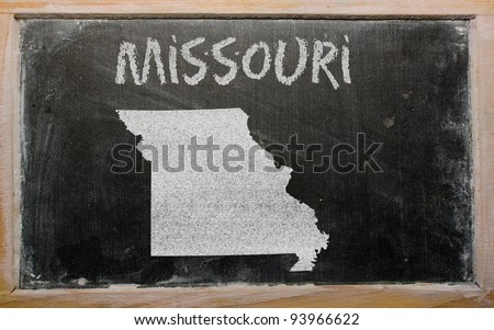 drawing of american state of missouri on chalkboard, drawn by chalk - stock photo