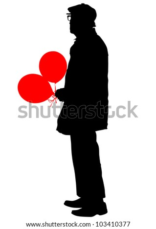 drawing of an elderly man with balloons - stock photo