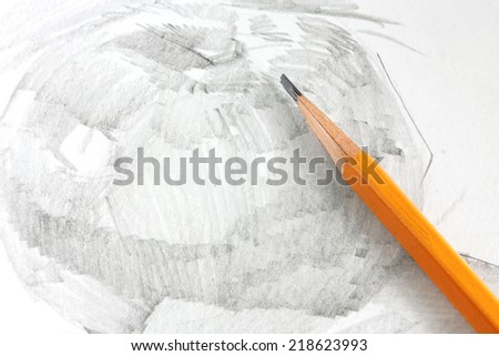Drawing of apple by graphite pencil - stock photo