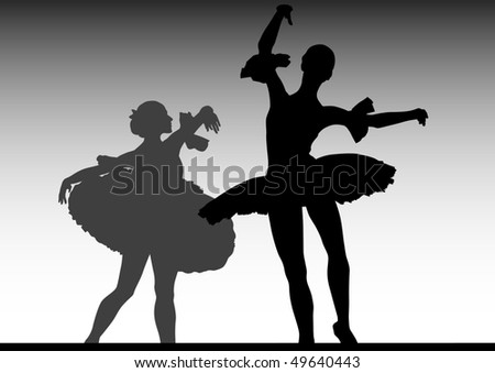 drawing of ballerinas dancing on stage - stock photo
