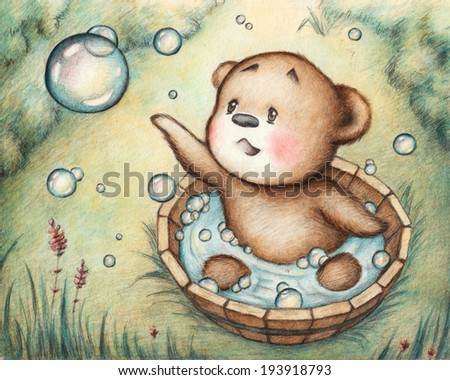 Drawing of Bathing Teddy Bear - stock photo