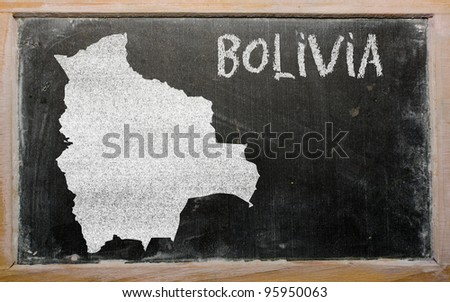 drawing of bolivia on blackboard, drawn by chalk - stock photo