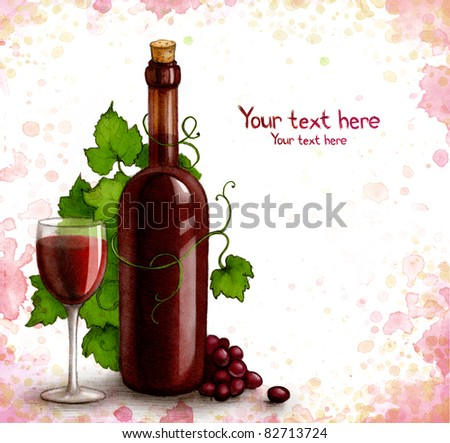 Drawing of bottle and glass with wine - stock photo