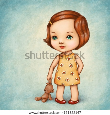 Drawing of cute little girl with teddy bear - stock photo