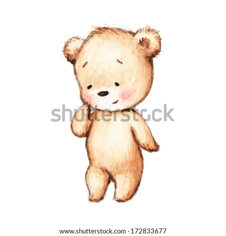 Drawing of Cute Teddy Bear  - stock photo