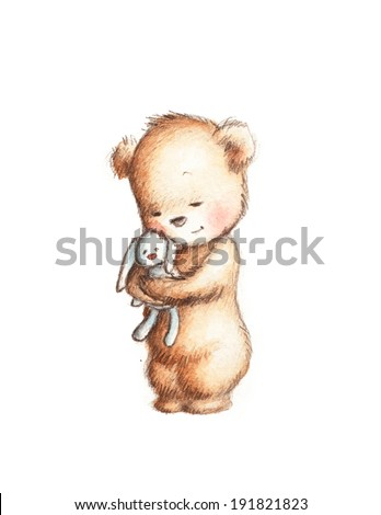 Drawing of Cute Teddy Bear with Toy Bunny  - stock photo