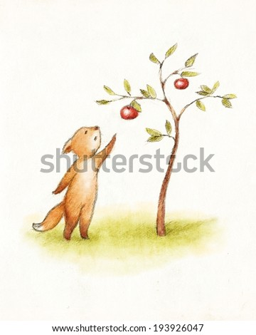 Drawing of fox reaching to the apple - stock photo