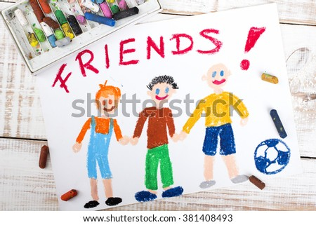 drawing of friends playing football - stock photo