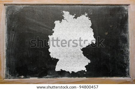 drawing of hungary on germany, drawn by chalk - stock photo