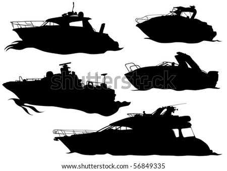 drawing of marine boats. Silhouettes on white background - stock photo