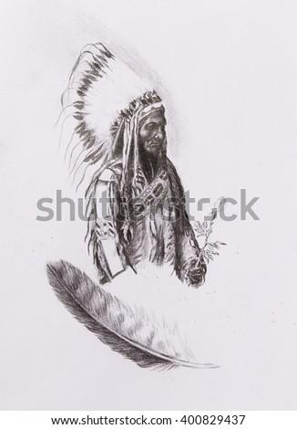 drawing of native american indian foreman Sitting Bull - Totanka Yotanka according historic photography, with beautiful feather headdress, holding rose flower. - stock photo