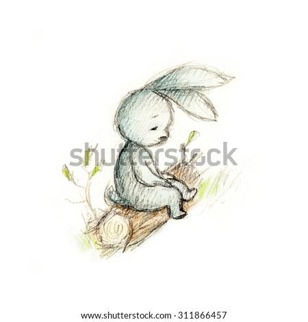 drawing of sad bunny sitting on the log - stock photo