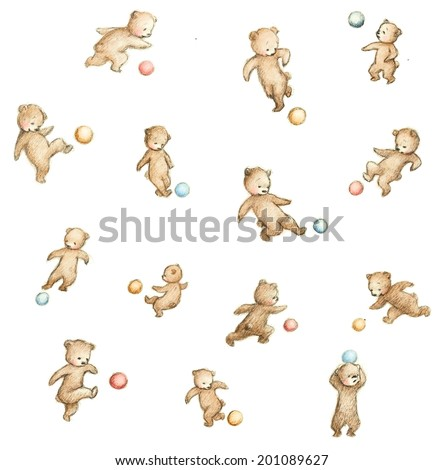 Drawing of soccer bears - stock photo