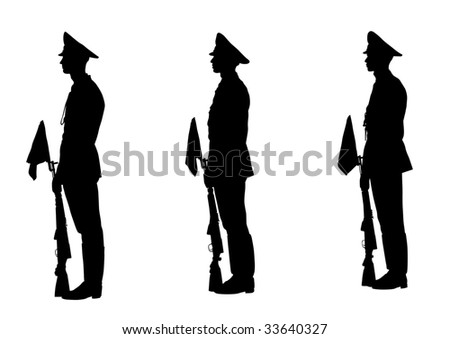 drawing of soldiers during a military parade. Silhouette on white background - stock photo