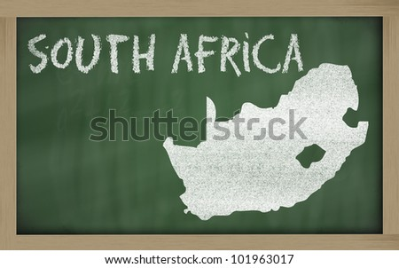 drawing of south africa on blackboard, drawn by chalk - stock photo