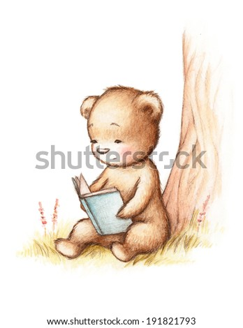 Drawing of Teddy Bear Reading a Book under Tree - stock photo