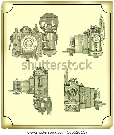 Drawing of the camera. Modern Figure, made in the style of engraving, in digital format. - stock photo