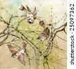 Drawing of three sparrows sitting on tree branches over colorful background - stock photo