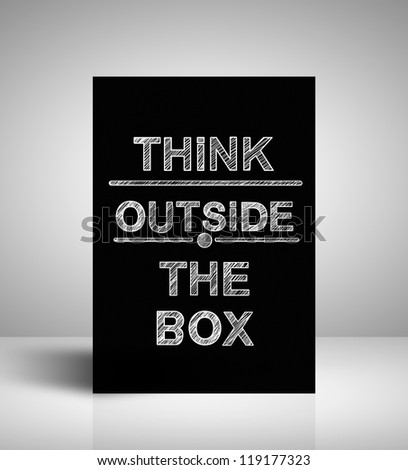 drawing on stand  think outside the box - stock photo