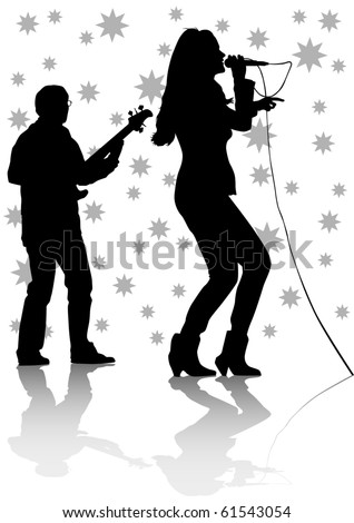 drawing one girl singing with a microphone and guitarist - stock photo