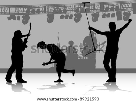 drawing one man singing with a microphone and guitarist - stock photo