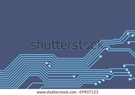 Drawing PCB (printed circuits board) - blueprint - stock photo