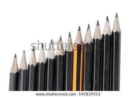 Drawing pencils in row isolated on white background - stock photo