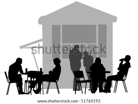 drawing people in cafes - stock photo