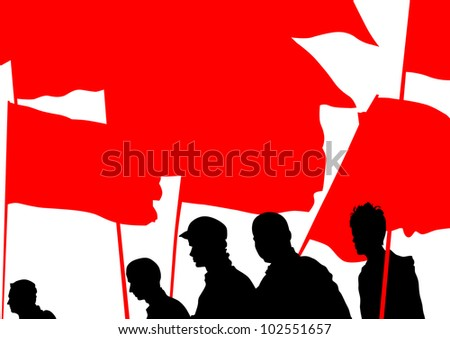 drawing people whit red banner - stock photo