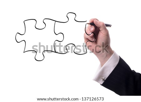 drawing pieces of a puzzle with copy space for text isolated on white - stock photo