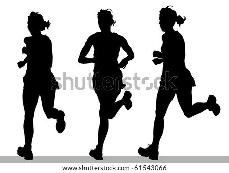 drawing running athletes. Silhouettes on white background - stock photo