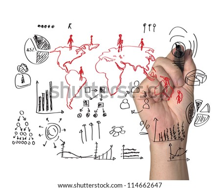 drawing social network - stock photo