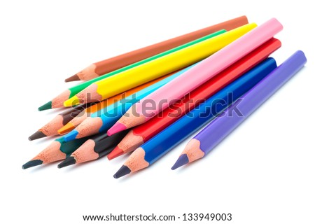 Drawing supplies: assorted color pencils, isolated on white background - stock photo