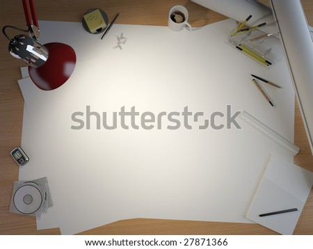 drawing table with lots of elements and a centered copy space for your own design - stock photo